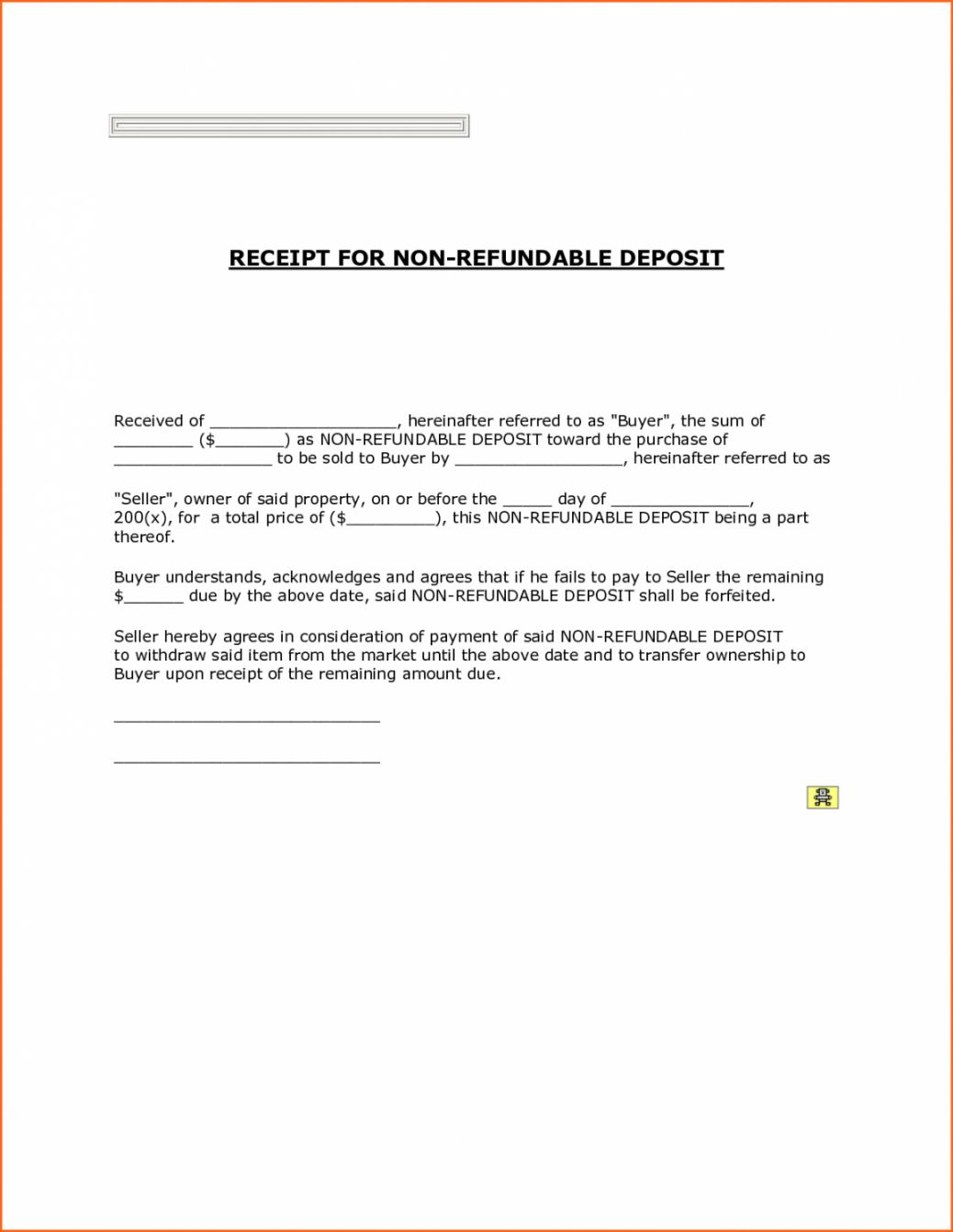 Sample Printable Non Refundable Down Payment Receipt With