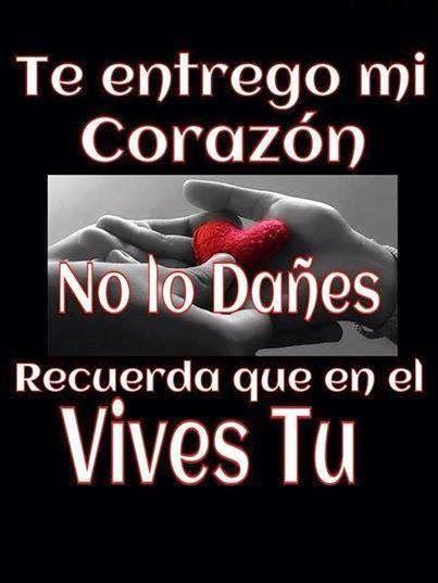 Te Entrego Mi Corazon No Lo Danes Frases De Amor Pinterest I