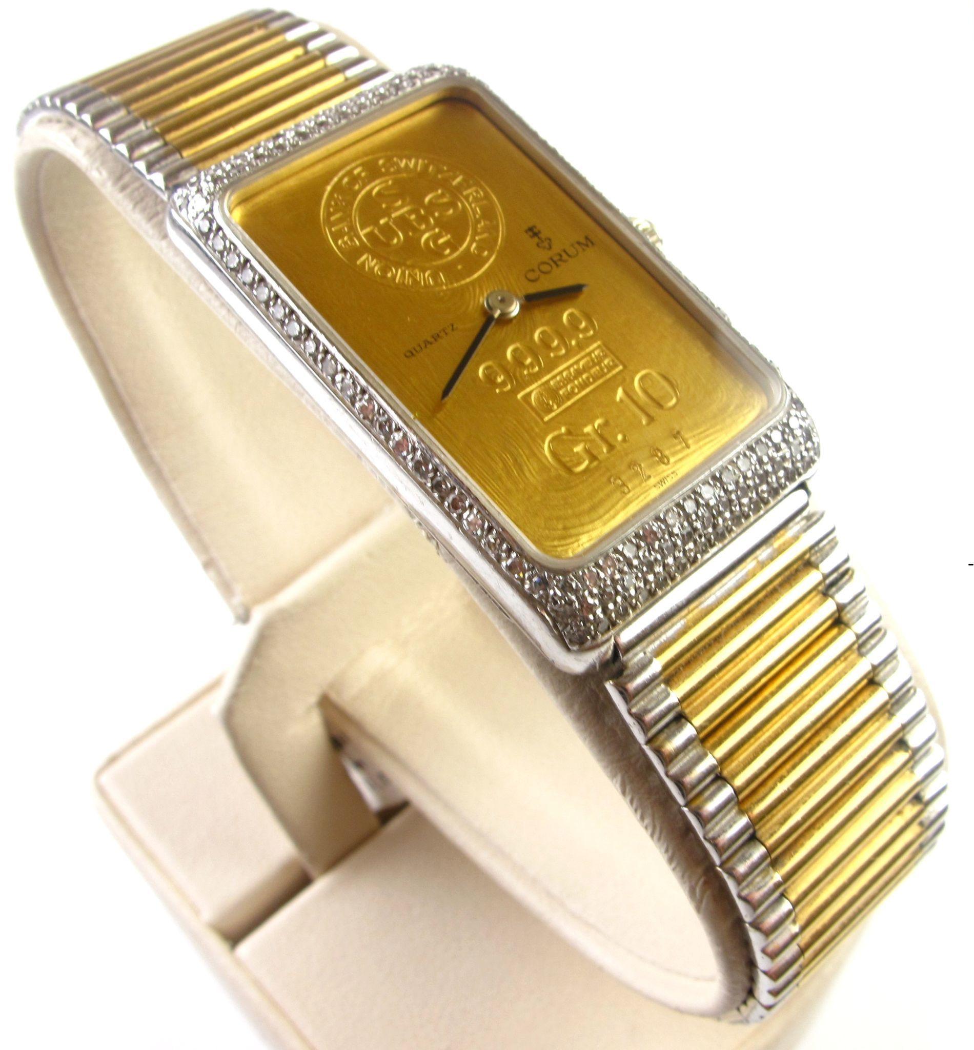 Vintage CORUM 18k Gold Ingot (10 Gram) Bullion Gents Wristwatch