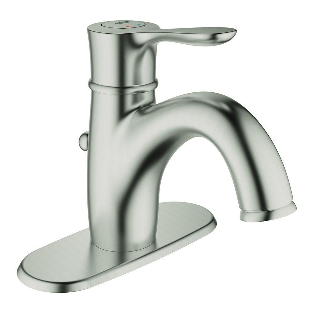 Grohe Parkfield Single Hole Single Handle Bathroom Faucet With Escutcheon In Starlight Chrome 23306000 The Home Depot Single Handle Bathroom Faucet Bathroom Faucets Bathroom Faucets Brushed Nickel [ 1000 x 1000 Pixel ]