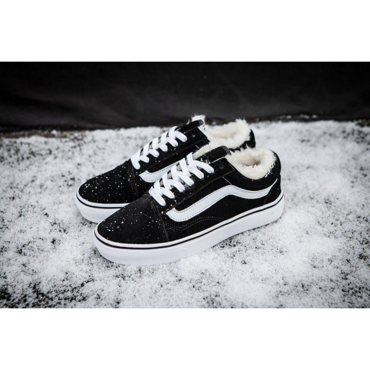 16c66e0613 Vans Old Skool Black Fleece Inner Winter Skate Shoes  Vans ...