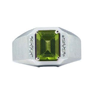 Diamond and White Gold Mens Peridot Emerald Cut Ring Available