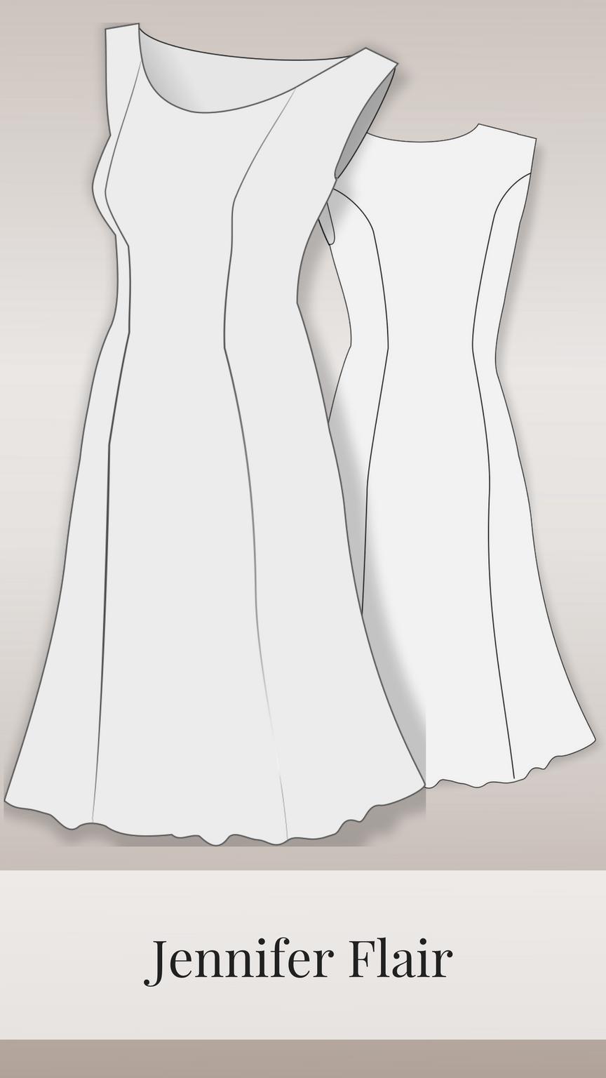 jennifer flair - kleid 34-48 | kleidung, schnittmuster kleid
