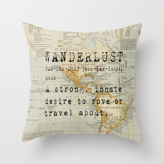 Throw Pillow Cover Wanderlust on Vintage Map of the World