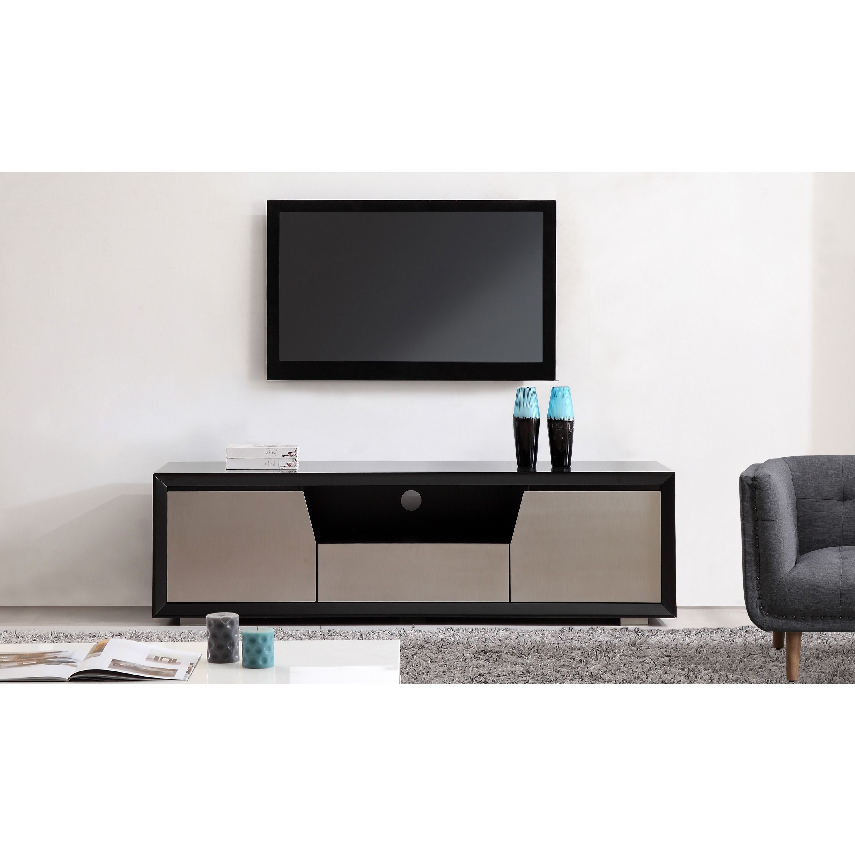 Element Matte Black/Stainless Steel TV Stand (Element White High ...