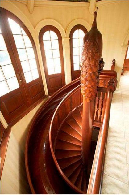 Wonderful Wooden Circular Mahogany Slide With Spiraling Stairs