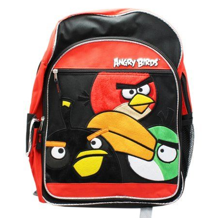 c1306ceeedc2 Angry Birds Fuzzy Character Patch Full Size Kids Backpack (16in ...