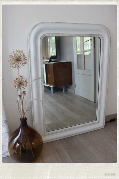 Grand miroir ancien bois platre restaure retrouver sur for Grand miroir retro