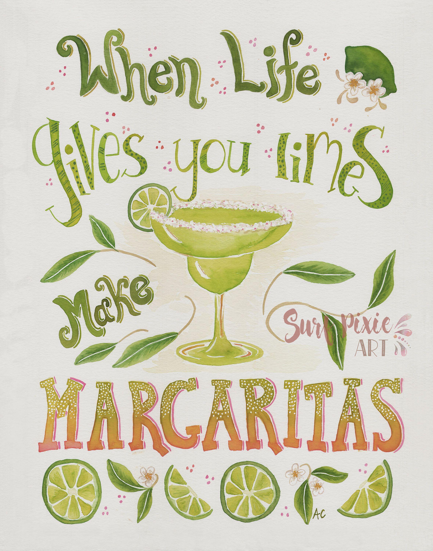 Margarita Art | Watercolor Quote | Margarita Print | Inspirational ...