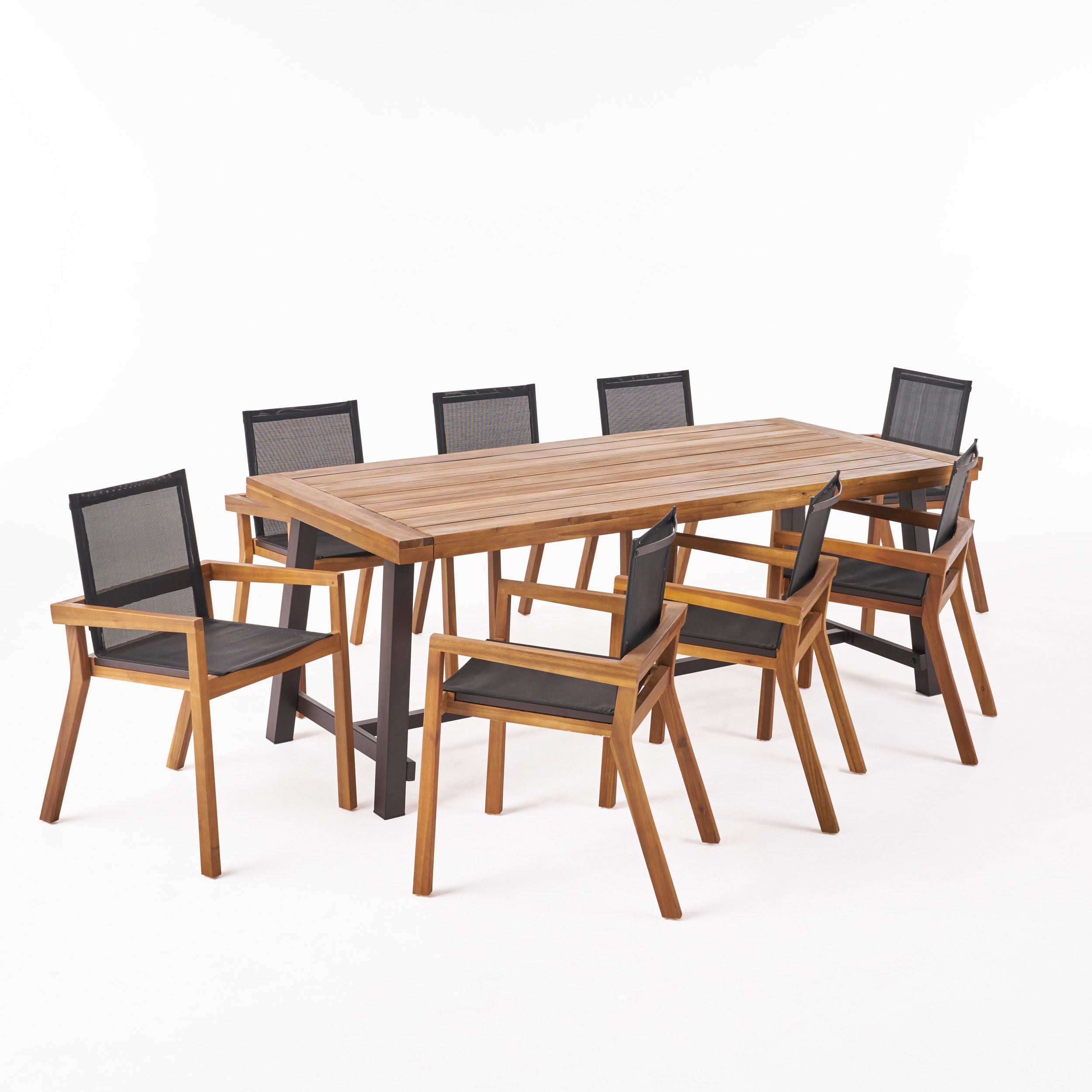 21++ We furniture 6 piece acacia wood dining set with cushions Inspiration