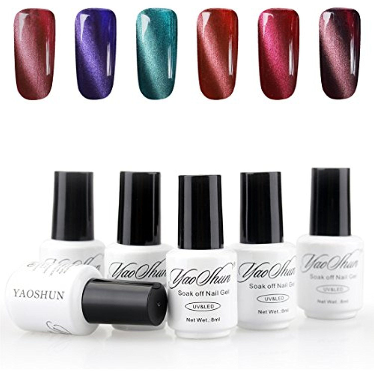 YaoShun Magnetic Gel Nail Polish Charming 3D Cat Eye Effect UV/LED ...