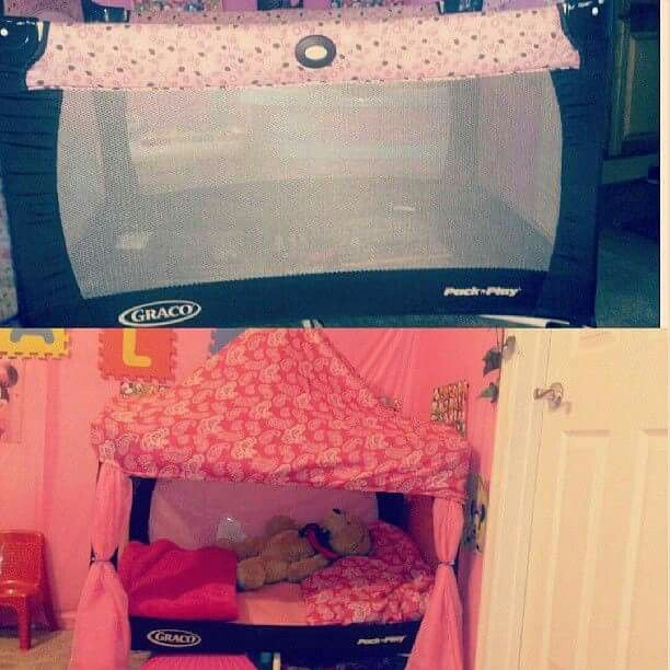 Turn your old baby playpen into a princess bed! I love ...