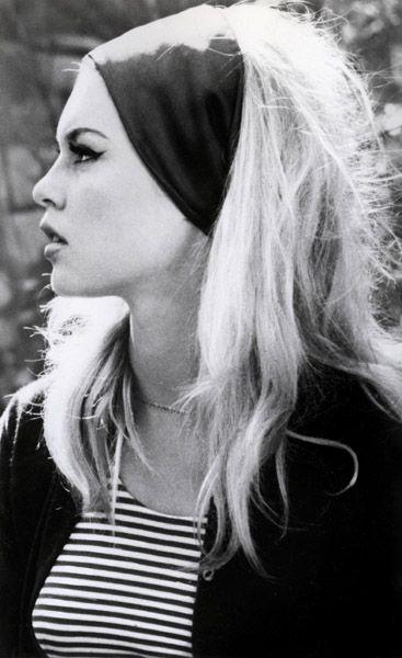I love this look - Bridget Bardot wearing a headscarf.