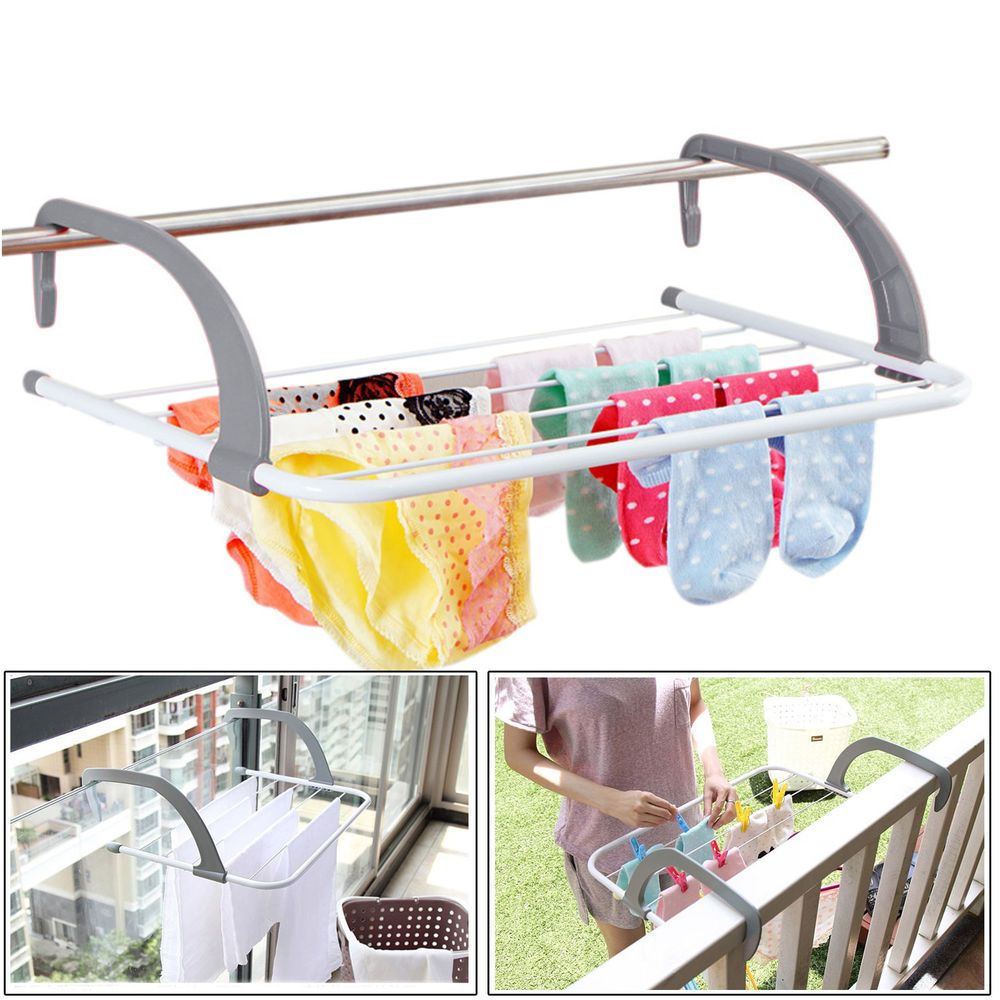 Grey 5Bar Radiator Clothes Airer Dryer Caravan Balcony Cloth Hanger Laundry Rack