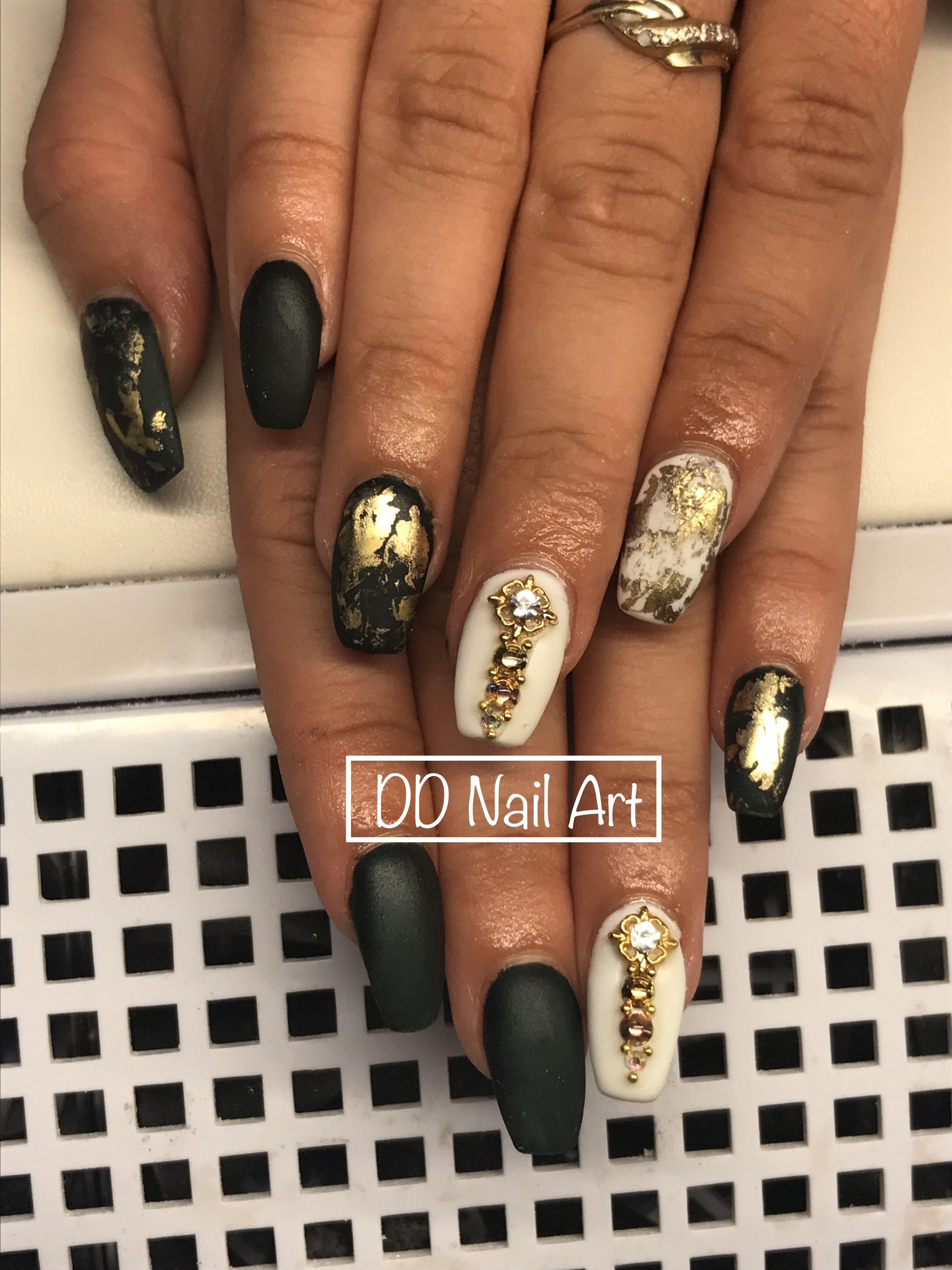 Coffin matte long nails design | DD nail art | Pinterest | Long nail ...