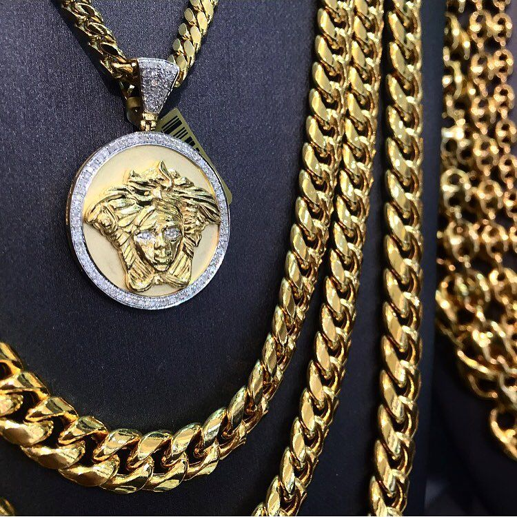 645cd9448 Custom Versace Diamond Pendant and Miami Cuban Link Chains | Mens ...