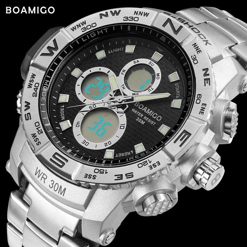 a223fde20f9 S-SHOCK men sport watches steel LED digital watch analog quartz watch  BOAMIGO brand chronograph auto date 30M waterproof clock