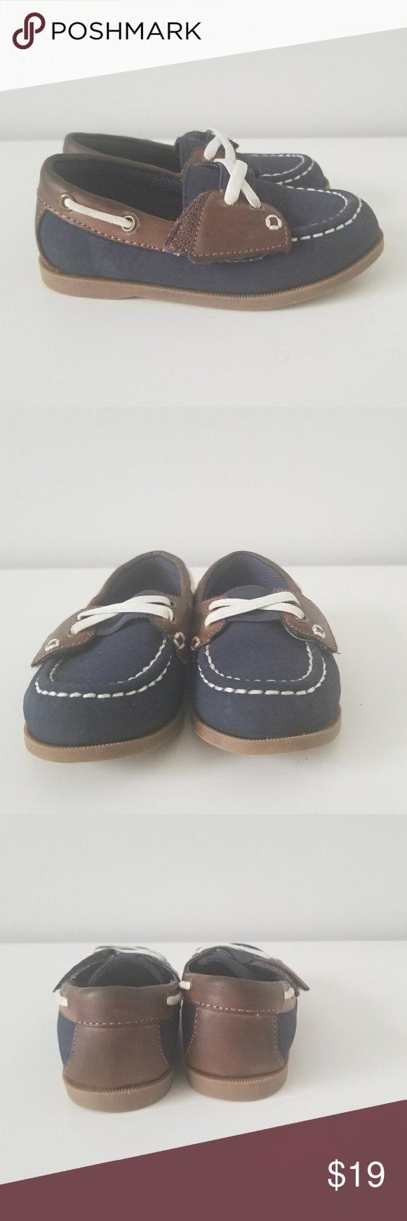 d4c04fa75dc Casual Max   Jake Boat Shoes Adorable blue and brown loafers with velcro  strap across the top. No laces. Size 8 max + jake Shoes Dress Shoes