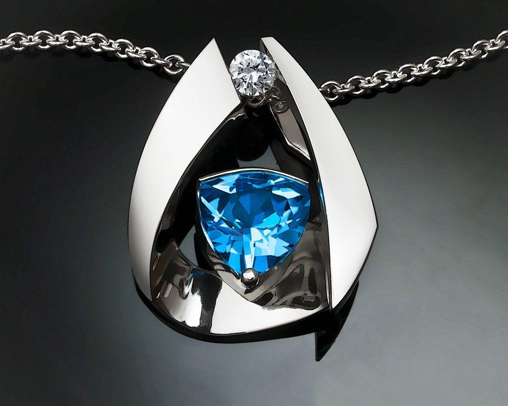 #statement #necklace - Swiss blue #topaz - December #birthstone - #ecofriendly - Argentium silver - contemporary jewelry via Etsy.