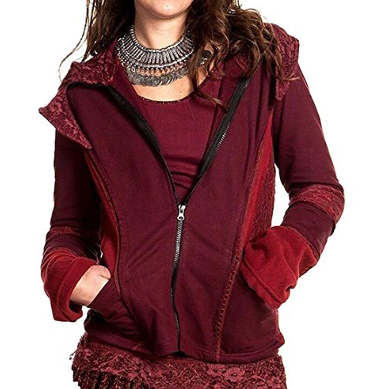 Oberora Womens Casual Zip-Front Mid Length Hooded Sweatshirt Jacket