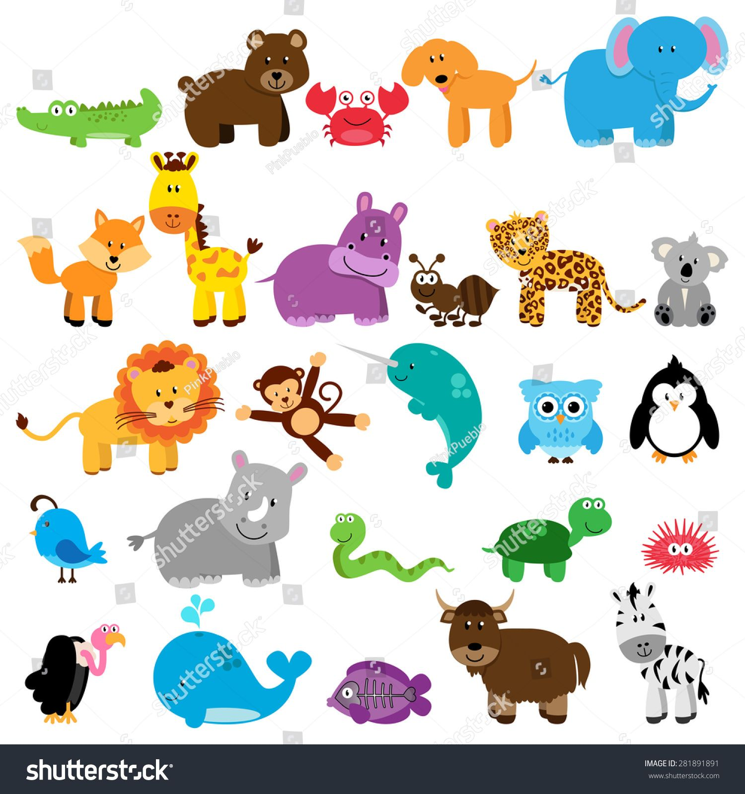 Vector Collection Of Animals One Animal For Each Letter Of The Alphabet Ad Ad Animals Colle Monkey Illustration Cute Animal Illustration Animal Clipart