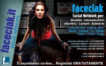 Faceciak.it il Social Network degl'artisti e dei settori: moda-cinema-tv-canto-ballo ecc... Consulta tutti i casting aperti a cui puoi partecipare, inviando semplicemente il tuo profilo creato su Faceciak alla pagina: http://www.faceciak.it/registrazione .