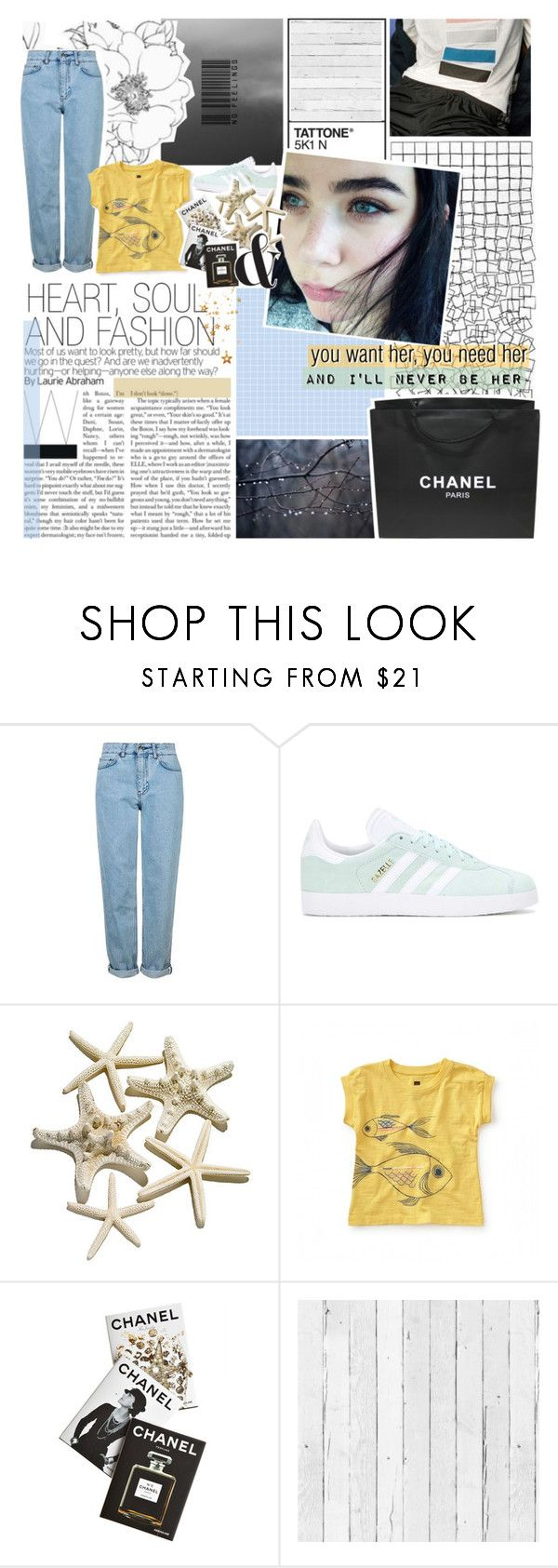 """""""i'll never be her"""" by frostedfingertips ❤ liked on Polyvore featuring Topshop, Chanel, adidas Originals, Assouline Publishing and NLXL"""