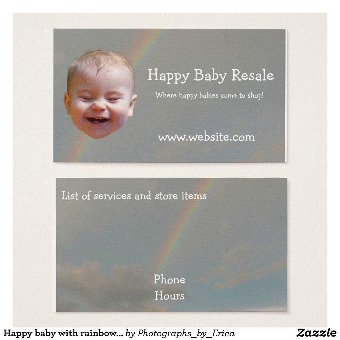 Happy baby with rainbow business cards | Photos on products ...