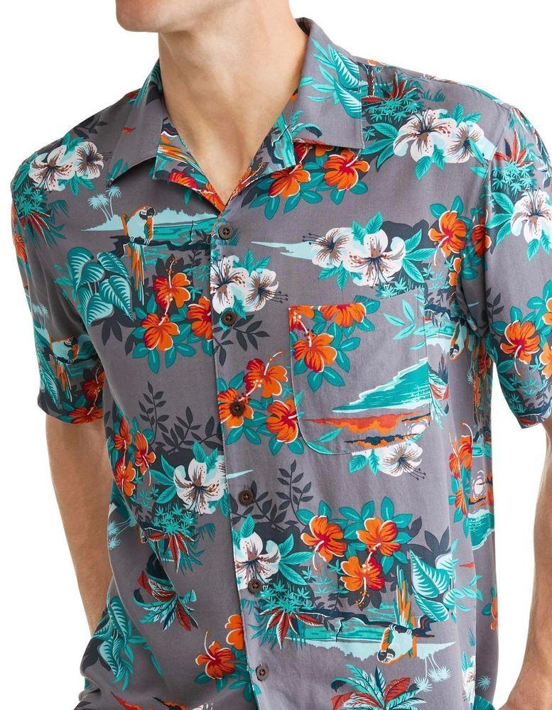 963508c3 George Big Mens Parrot Tropical Floral Hawaiian Camp Shirt Gray Orange Up  to 5X #George #Hawaiian