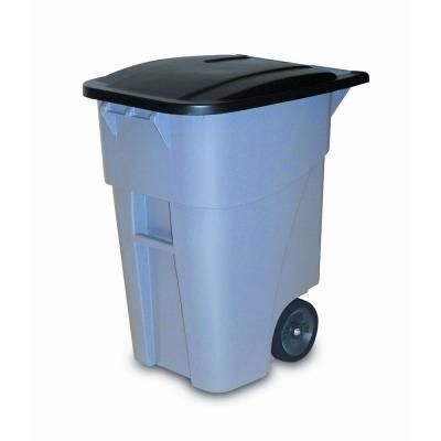 Rubbermaid Commercial Products Brute 50 Gal Grey Rollout Trash Can With Lid Fg9w2728gray The Home Depot Rubbermaid Commercial Products Trash Can Rubbermaid