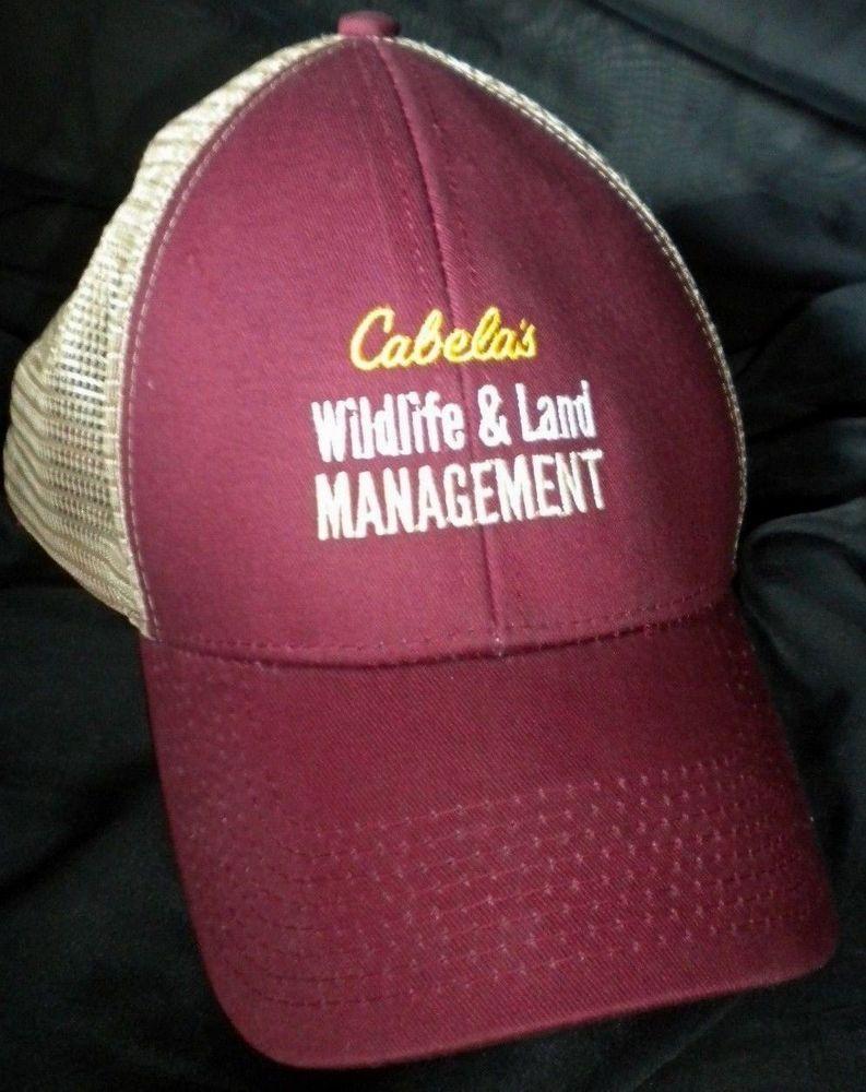 Cabela S Wildlife Land Management Mesh Trucker Hat Snapback Cap Maroon Tan Mesh Trucker Hat Trucker Hat Cabelas