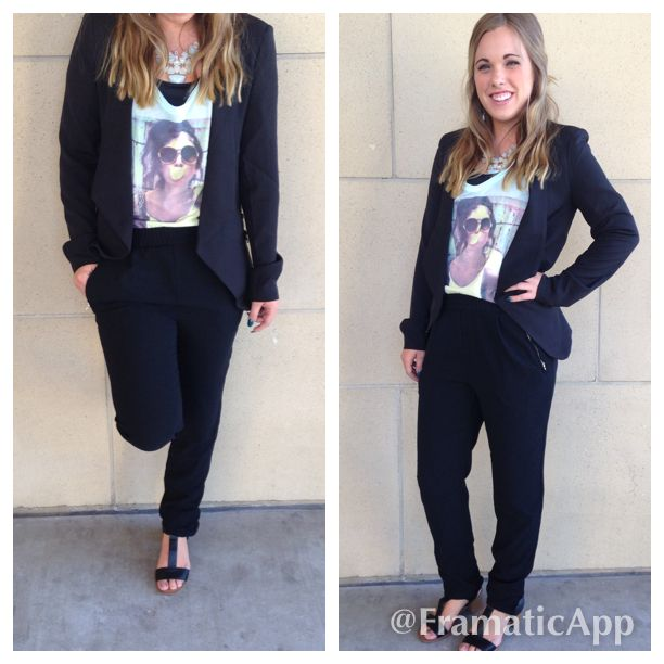 I love that track pants are in, this dresses it up for a more business/edgy look :) #blazer #fashion #graphictee #trackpant #fall
