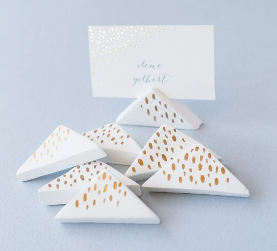 Wedding Place Card Holder Ideas: DIY Wedding: Air-Dry Clay Place-Card Holders