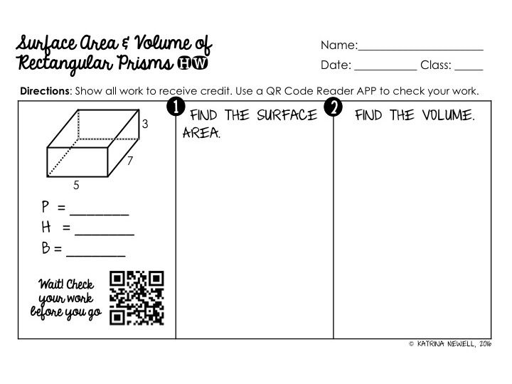 Area Worksheets Secondary Math Classroom Area And Volume Volume surface area worksheets