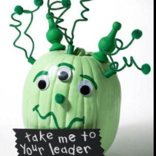 Alien pumpkin for kids from Michael's app under project ideas