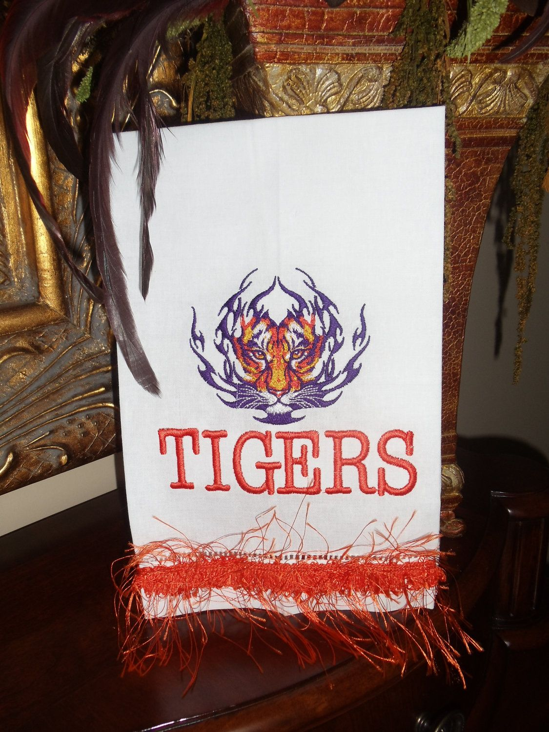 White Linen Kitchen or Guest bathroom Towel with a awesome tigers face. $13.00, via Etsy.