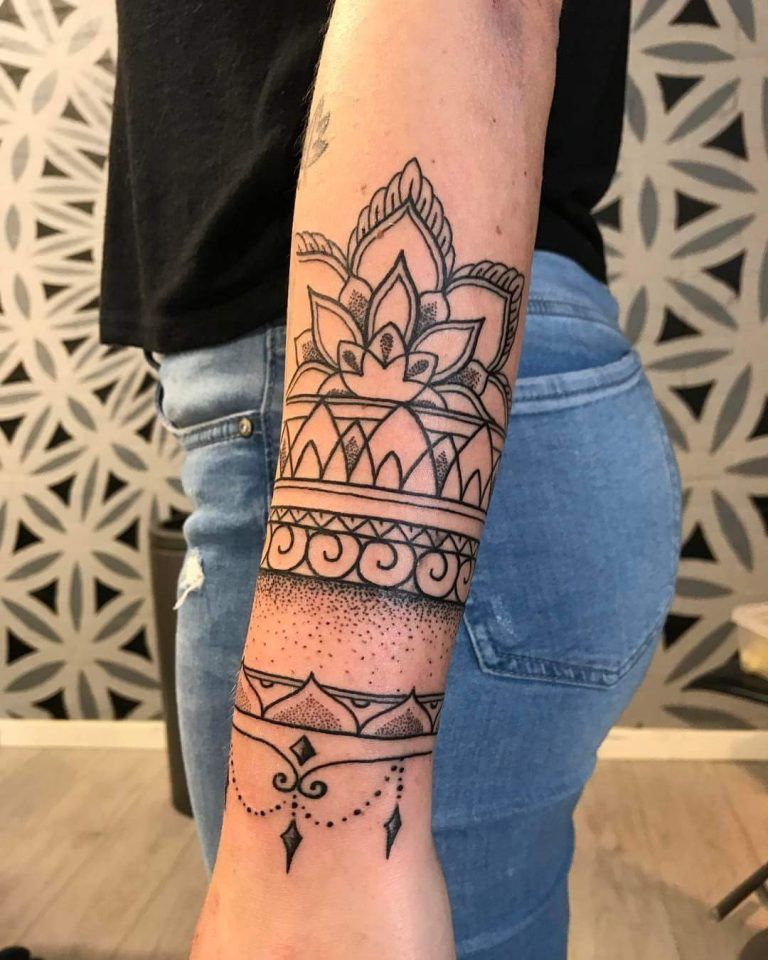 Big And Spacious Wrist Tattoo By Mandala Art Wristtattoos Mandala Wrist Tattoo Cuff Tattoo Mandala Tattoo Design