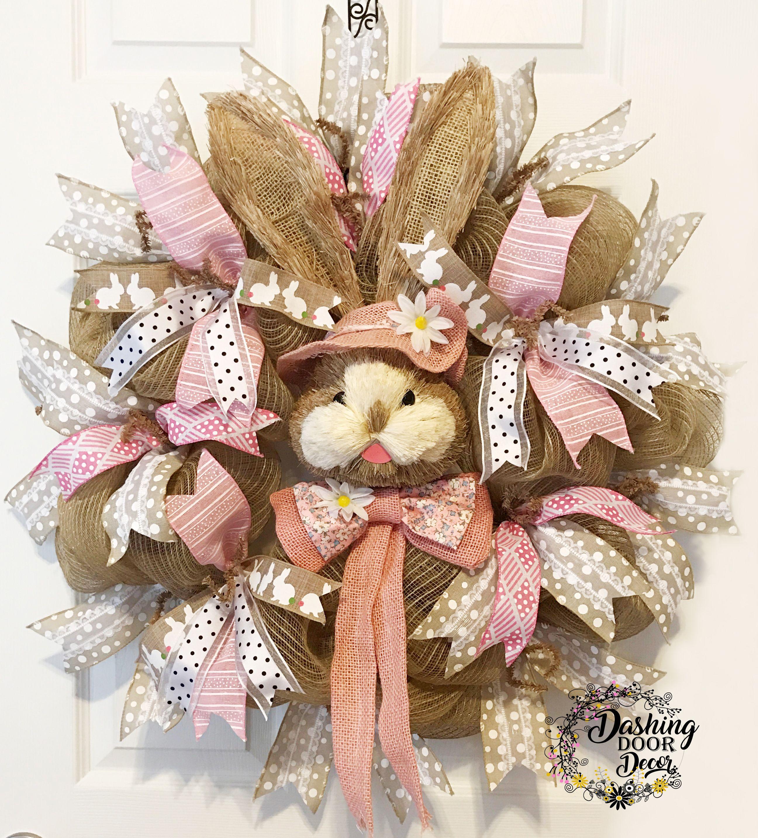 Easter Bunny Bonnet Burlap Deco Mesh Wreath Spring 66