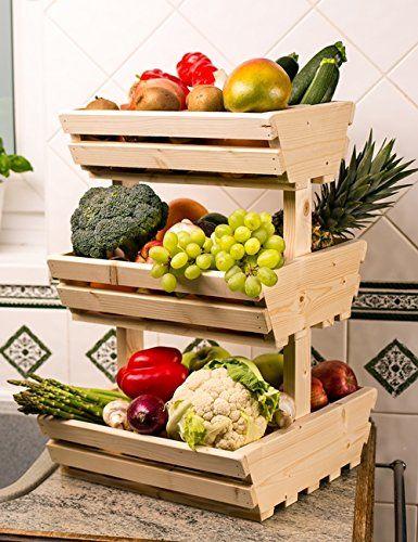 3 tier Wooden Vegetable fruit food storage rack Familly & 3 tier Wooden Vegetable fruit food storage rack Familly | Food ...
