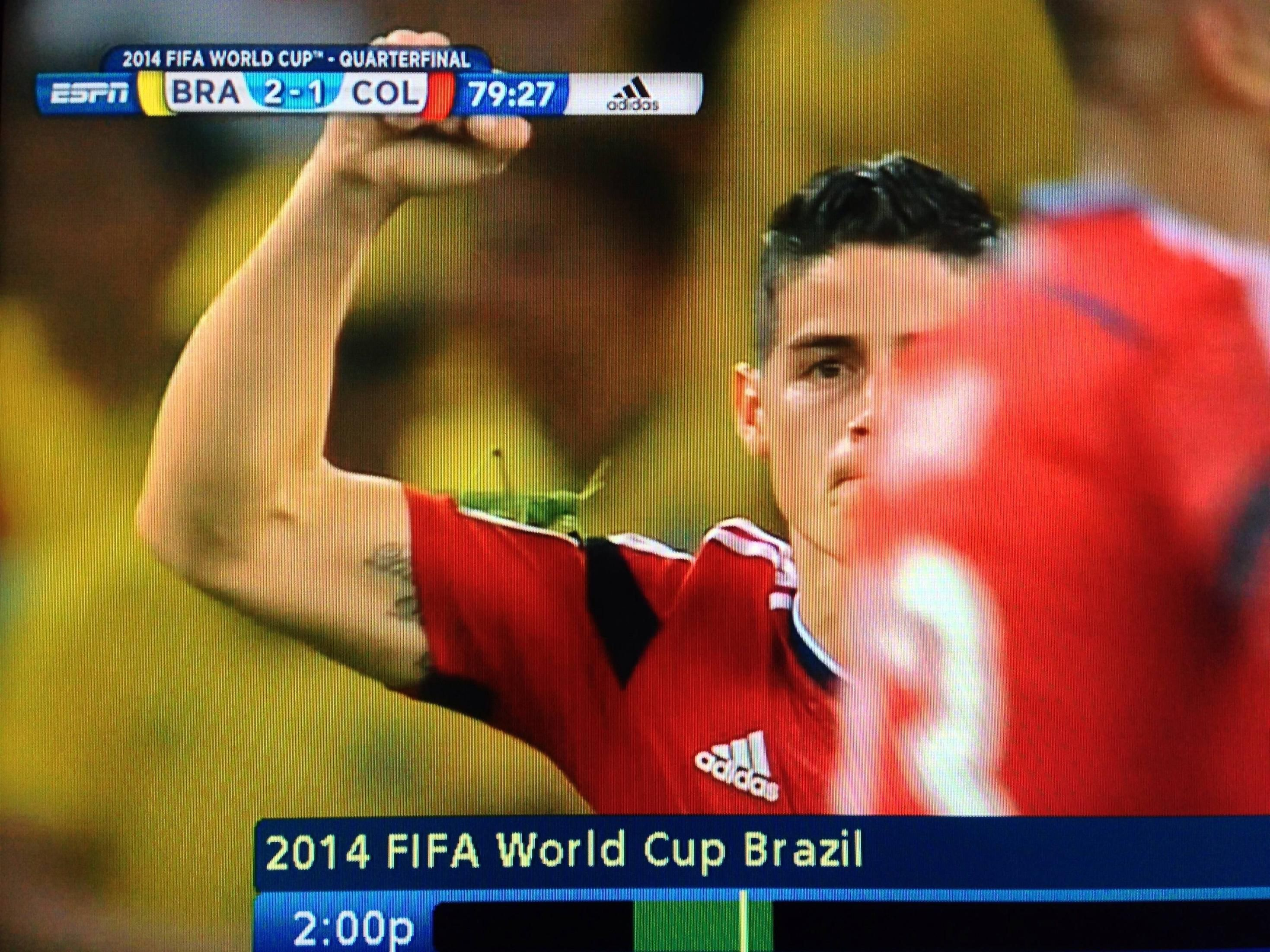 Did anyone notice the gigantic bug on James' arm after he scored against Brazil?