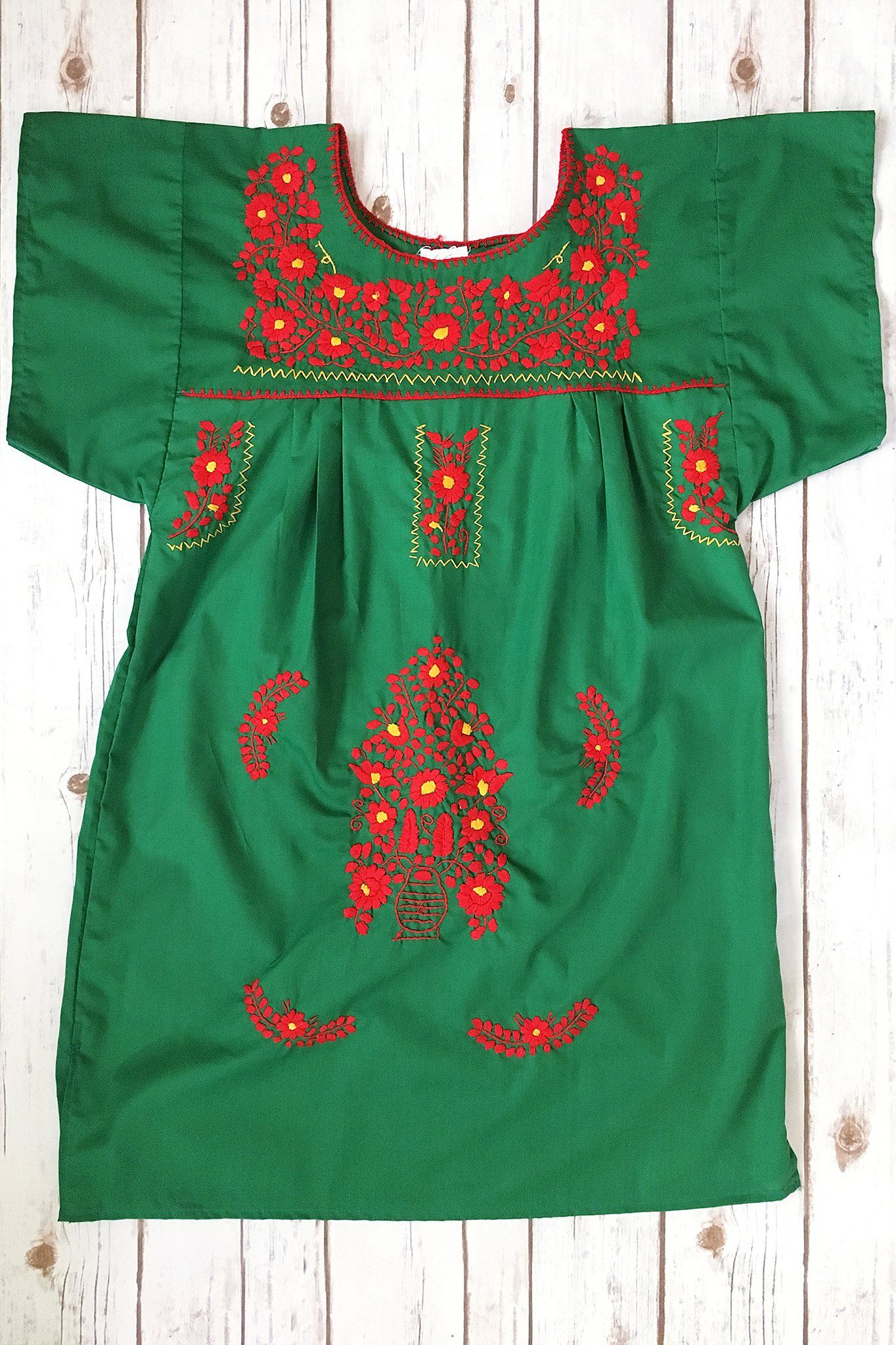 2fe36c0a696 Mexican Dress in Green Short Length