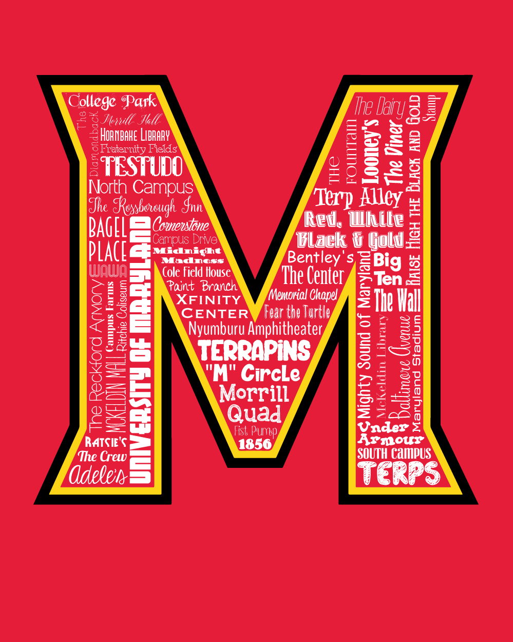 Original Artwork Using Words To Describe University Of Maryland Show Off Your Terps Pride In Your Home Do Word Art Typography Word Art Typography Wall Art