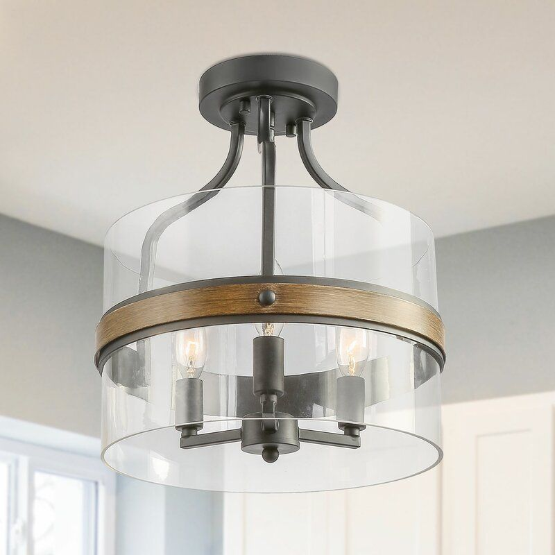 Hillard 3 Light 12 Lantern Drum Semi Flush Mount Rustic Ceiling Lights Semi Flush Mount Lighting Ceiling Light Fixtures
