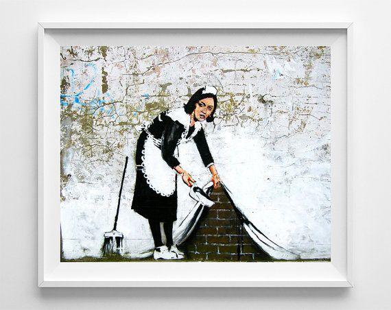 Banksy Print, Maid in London, Street Graffiti Art, Banksy Painting, Urban Artist, Stencil Art, Street Art, Fathers Day Gift