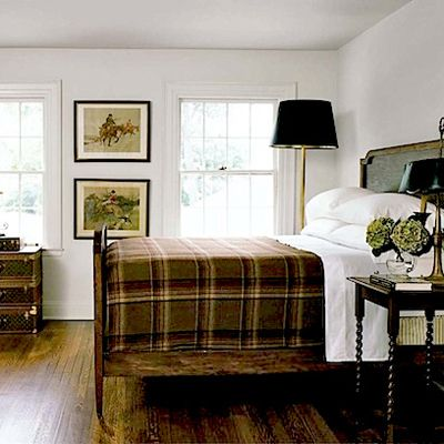 Masculine bedroom - great plaid bedspread and hunting prints on the wall  This looks so much like my bedroom but need to find pictures for the wall...