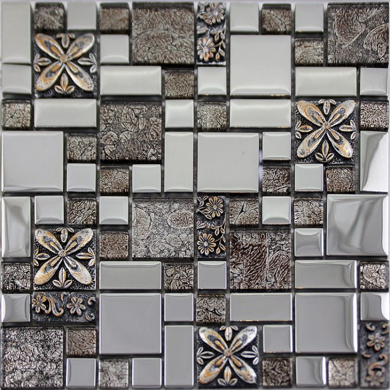 Silver Glass Tile Mosaic Shower Wall Designs Plated