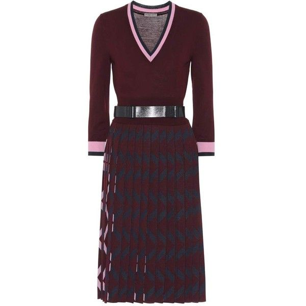 Bottega Veneta Belted Wool Dress (7,990 SAR) ❤ liked on Polyvore featuring dresses, red, red dress, wool dress, belted dresses, red belted dress and bottega veneta dress
