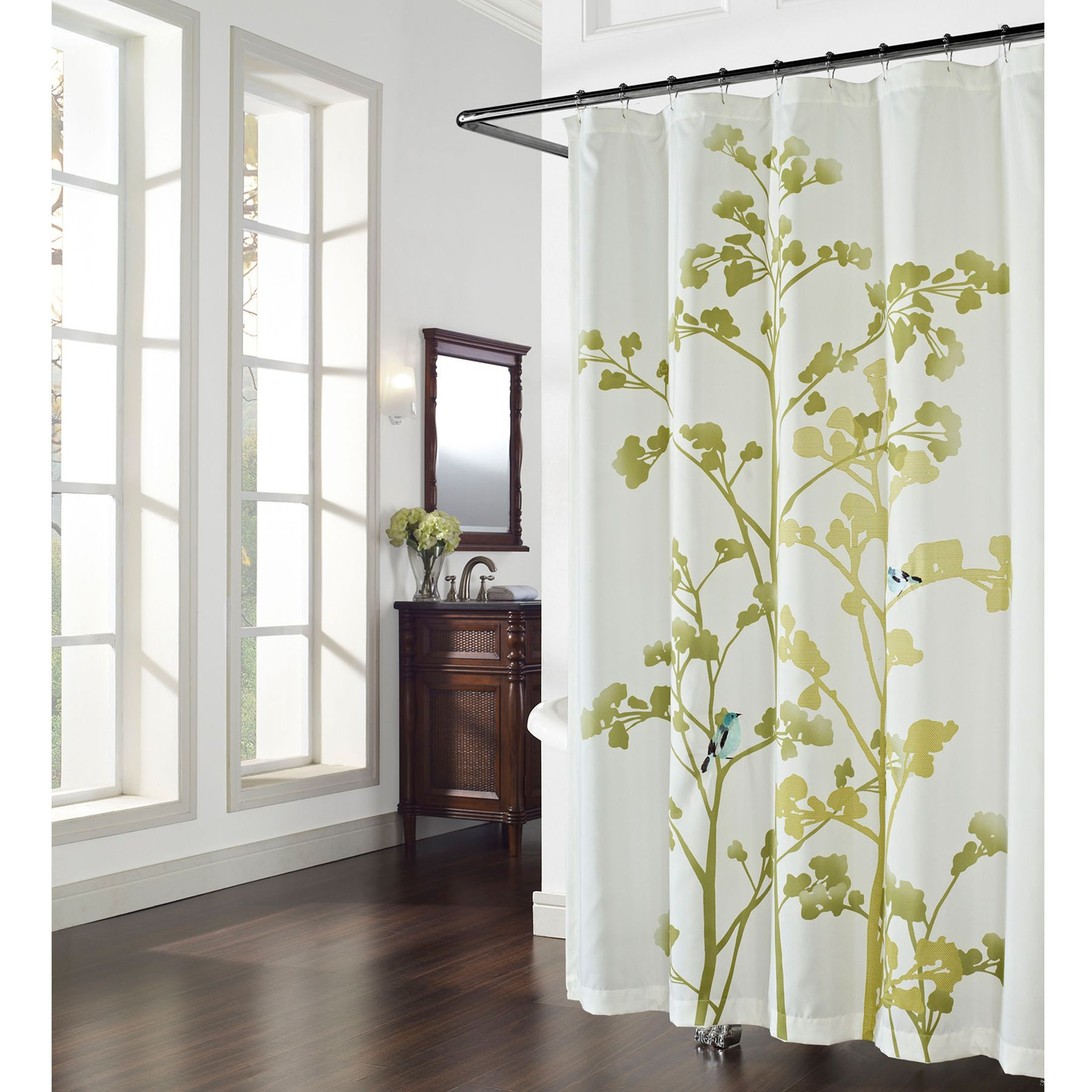 This lovely shower curtain features a pattern of offset printed tree