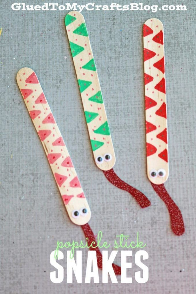 Popsicle Stick Snakes - Fun Craft Idea For Kids To Make!