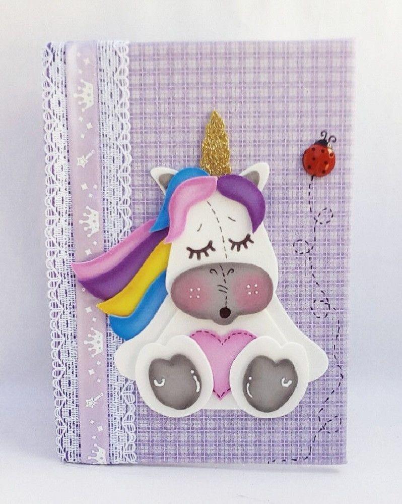Caderno Brochura Decorado Com Unicornio Em Eva 21x15cm Cadernos